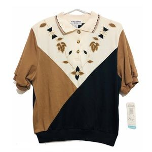 NWT Vintage Colorblock Polo Embroidery Beaded M